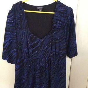 Black & Blue Metallic Zebra Stripe Tunic